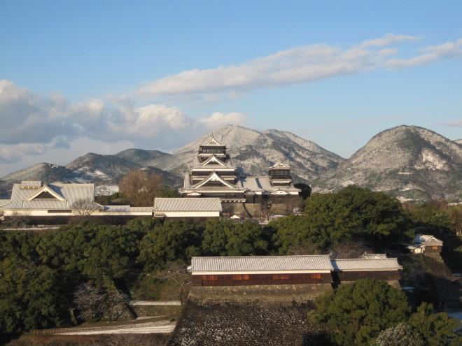 屋上からみる熊本城冬